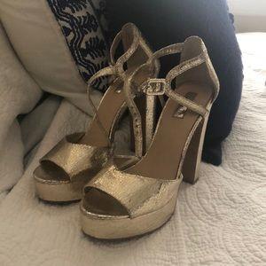 Topshop gold platform heels!! GREAT condition.